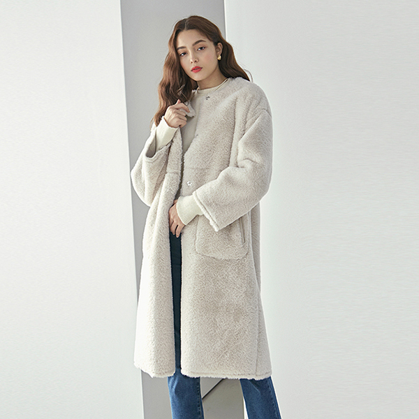 DUPLEX FUR MUSTANG LONG COAT_CREAM