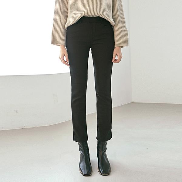 FUR TRIMMING SLIM LONG PANTS_BLACK