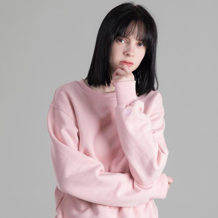 헤비웨이트 기모 무지 맨투맨 (핑크)