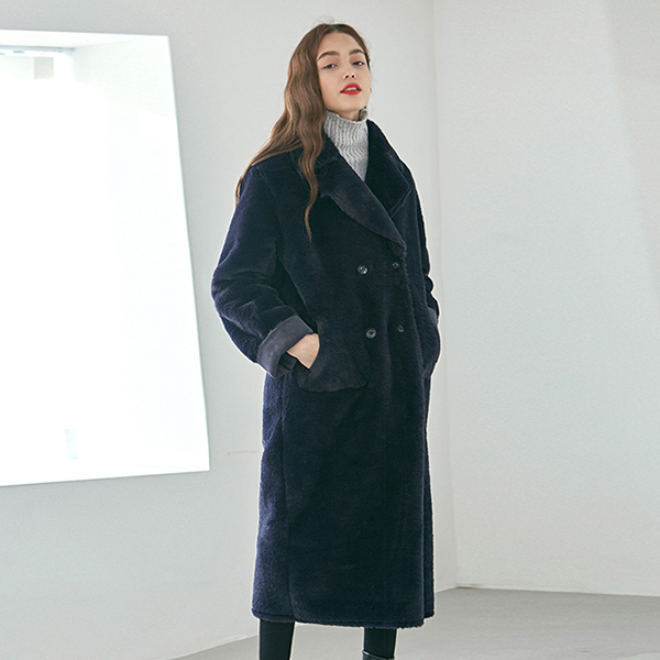 DOUBLE FACED LONG MUSTANG COAT_NAVY