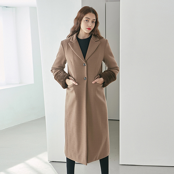 MINK SINGLE LONG COAT_MOCHA