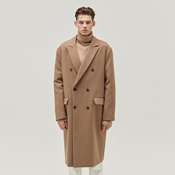 TAILORED WOOL DOUBLE LONG COAT_CAMEL