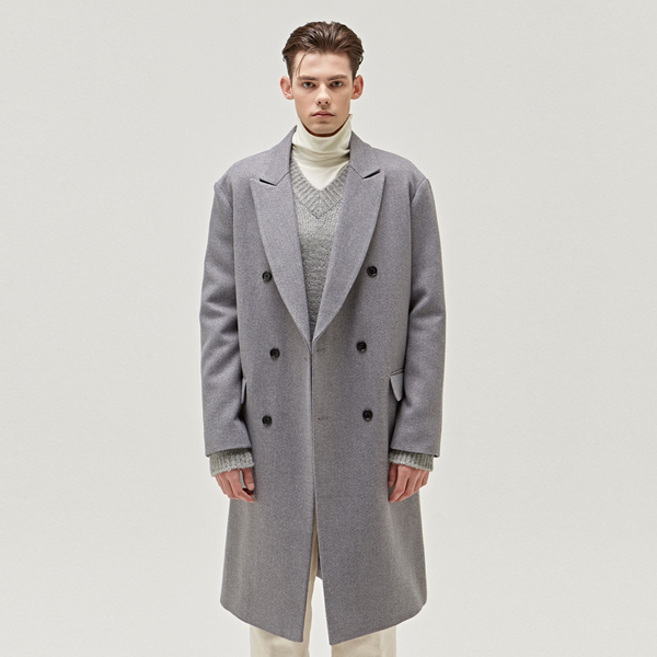 TAILORED WOOL DOUBLE LONG COAT_GREY