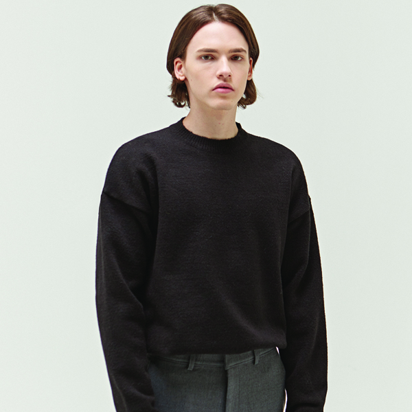SOFT WOOL ROUND KNIT_BLACK
