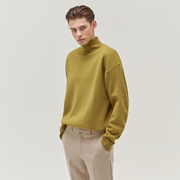 MINIMAL WOOL HALF TURTLENECK_AVOCADO