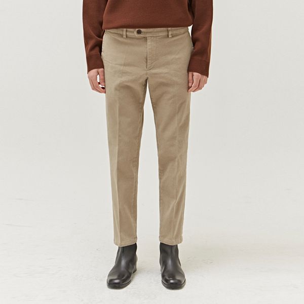 TAPERED COTTON FLEECE LINED PANT_MOCHA