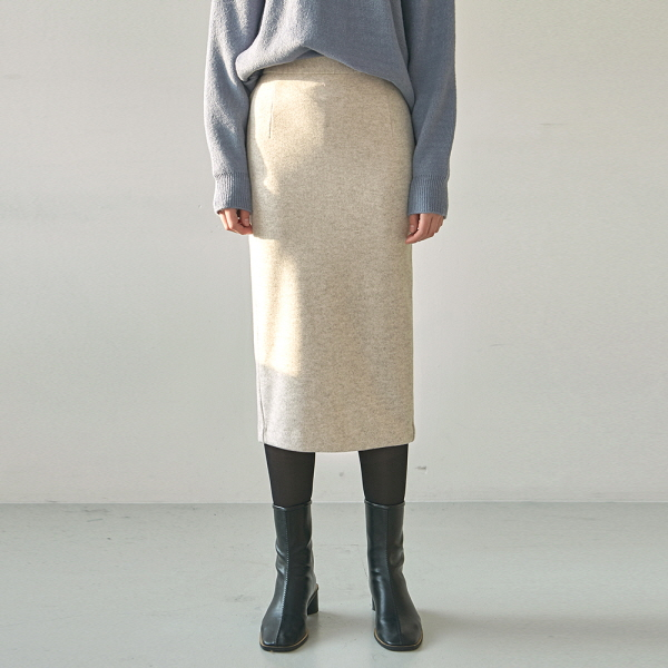 WOOL SLIT LONG SKT_OATMEAL