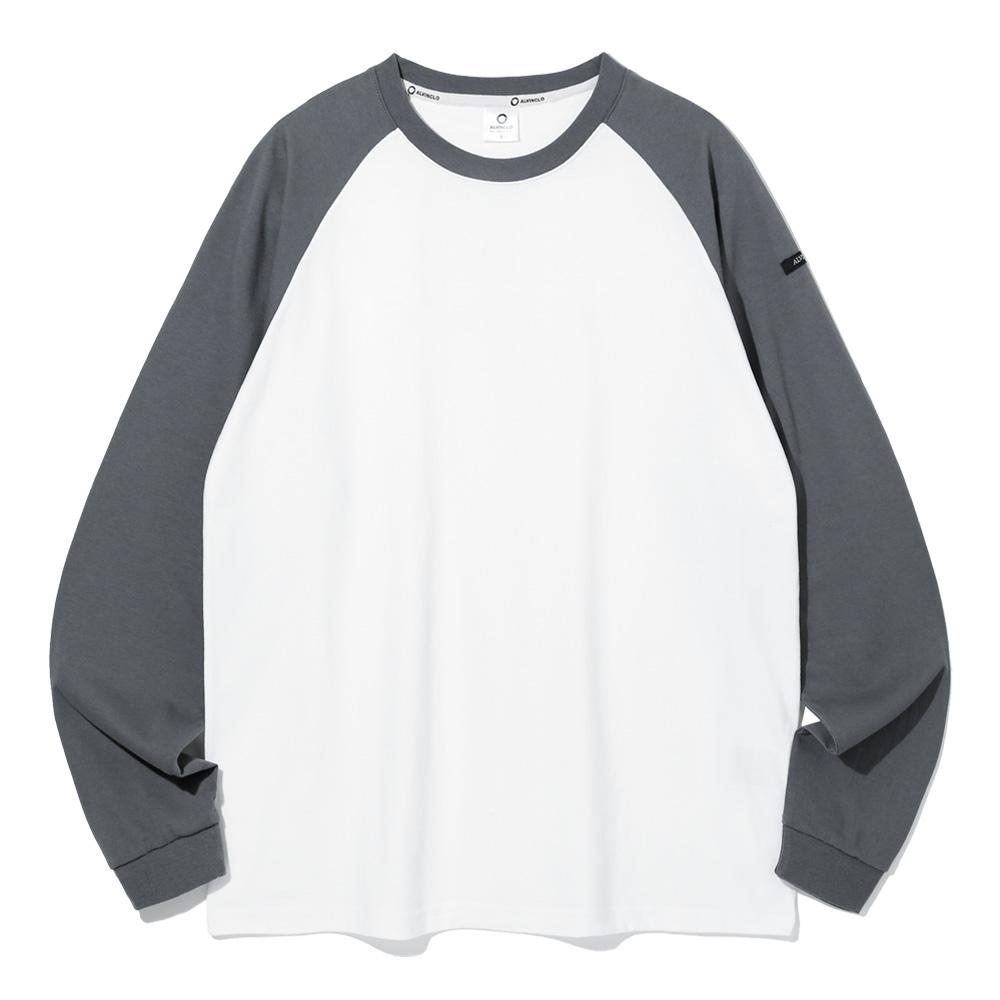 [앨빈클로]AVT-317 배색 레글런 세미오버핏 긴팔티셔츠