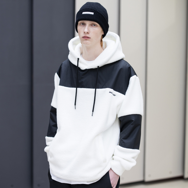 SL LOGO SECTION HEAVY FLEECE HOODIE MFNHD004-WT