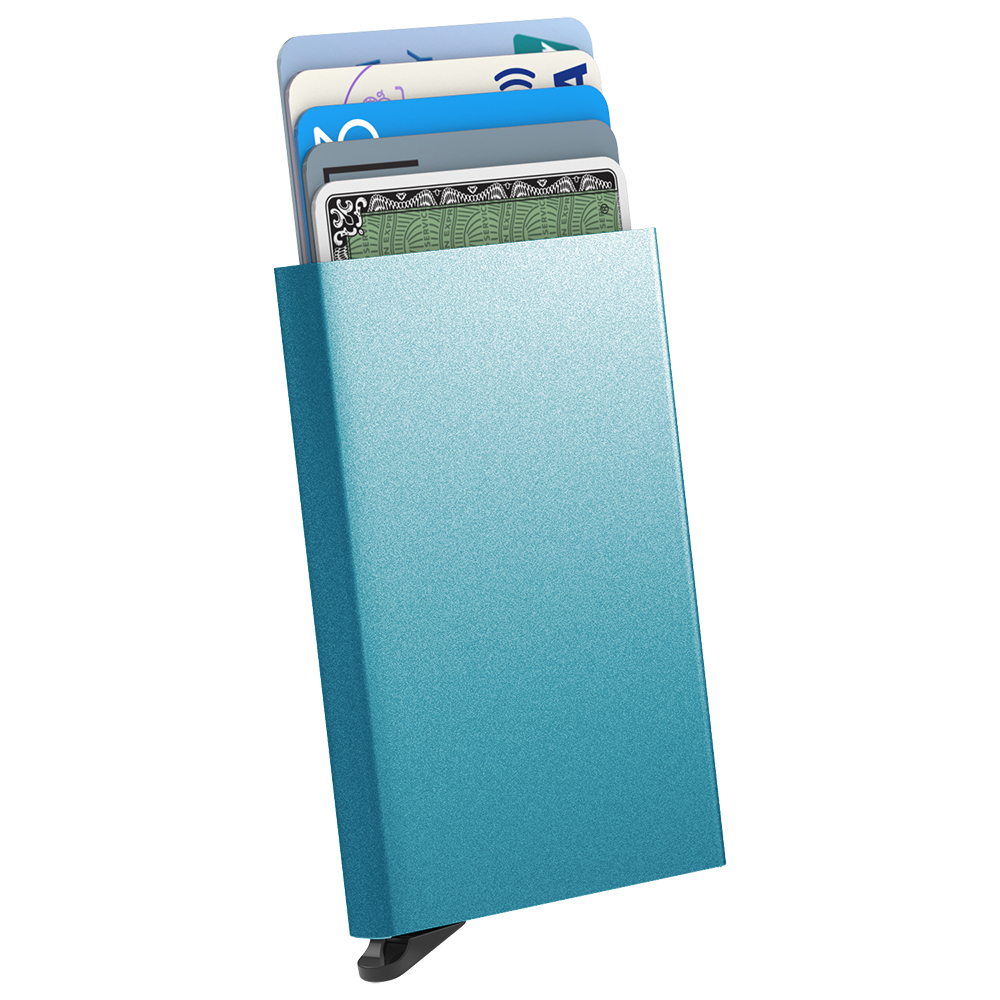 스킨즈 메탈 슬라이드 신용카드 홀더 케이스 (블루)