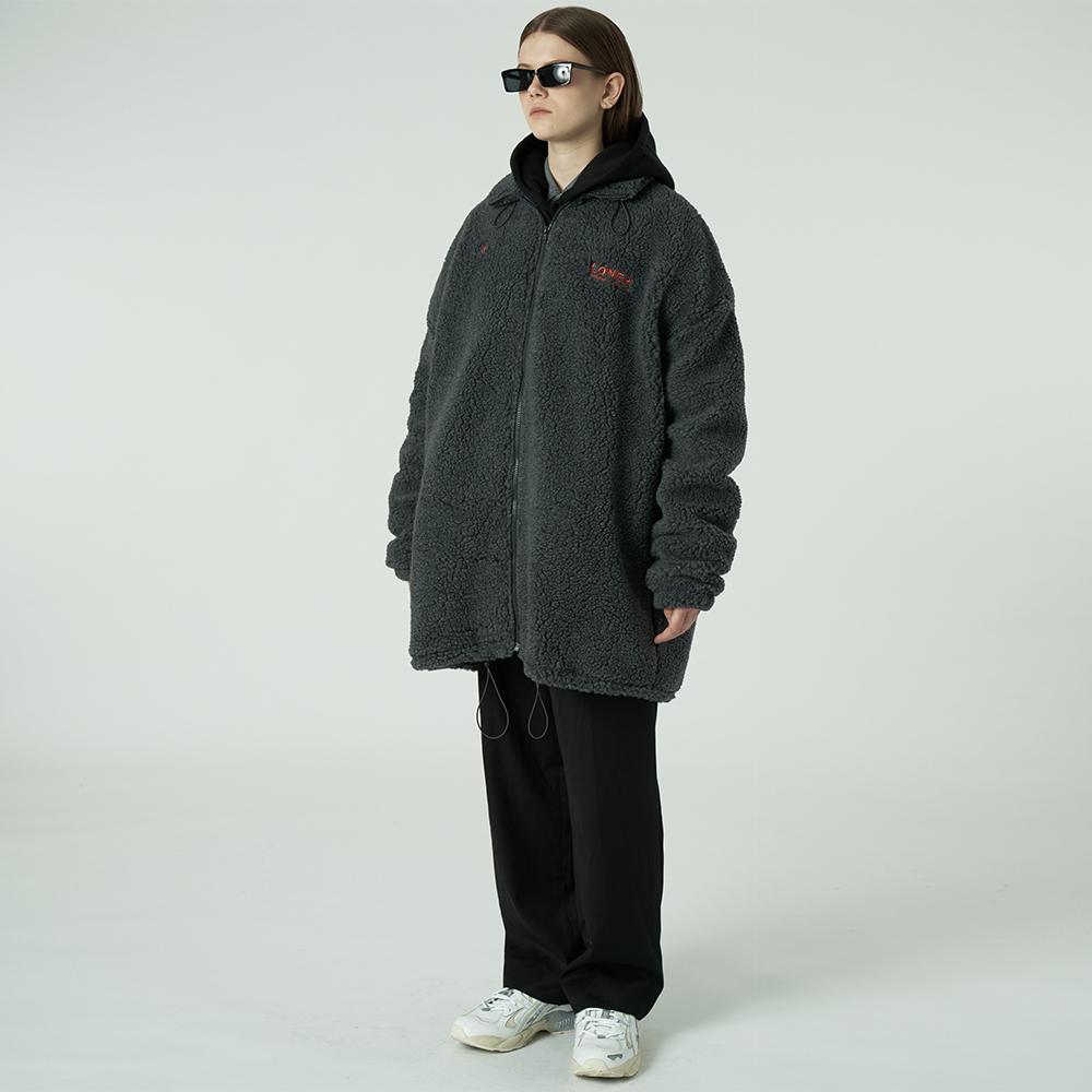 [L]Gmt long fleece jacket-charcoal