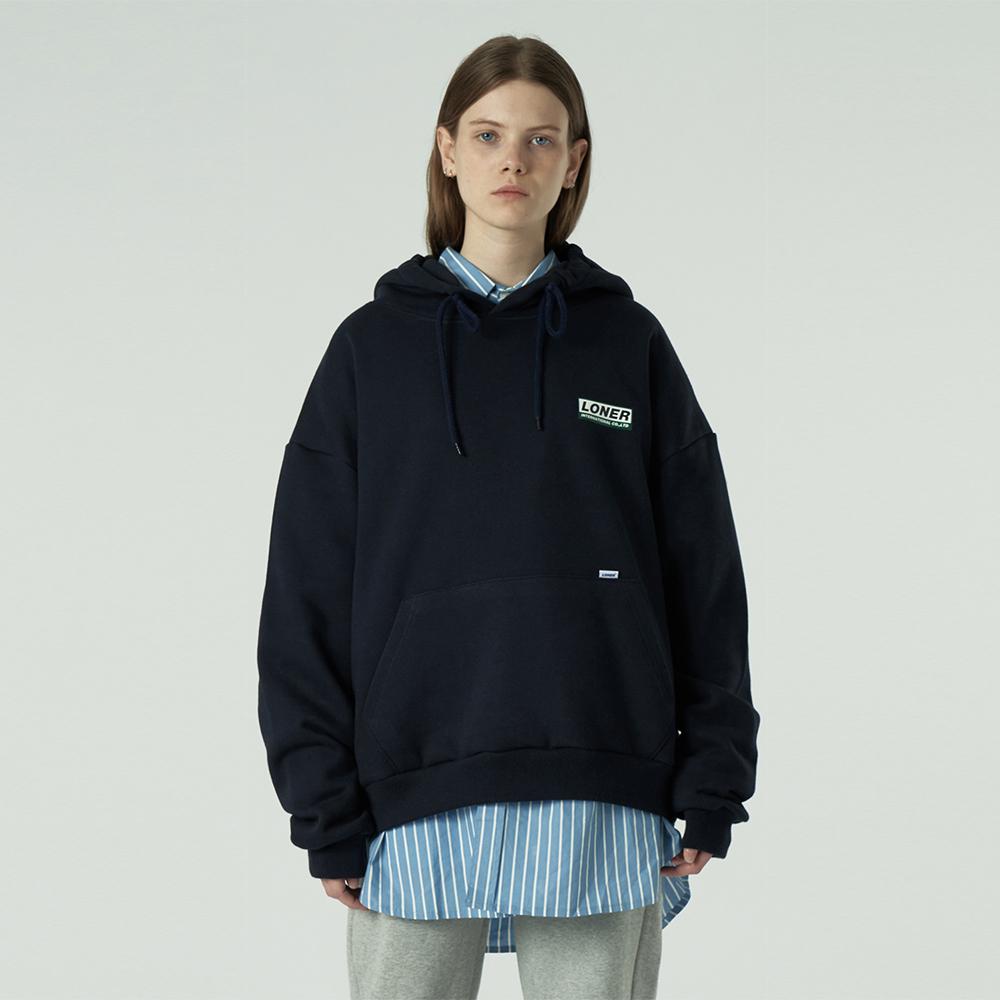 [L]Triple Square printing hoodie-navy