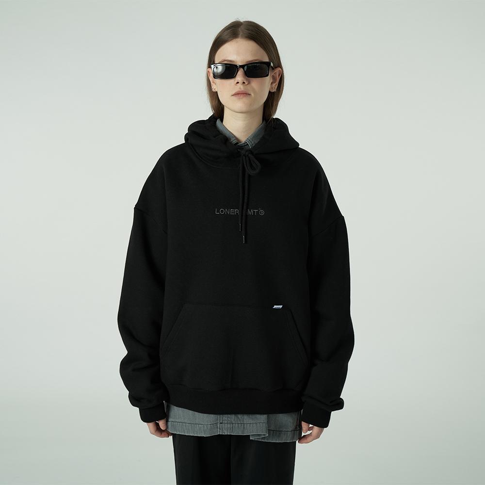 [L]Embroidey gmt logo hoodie-black