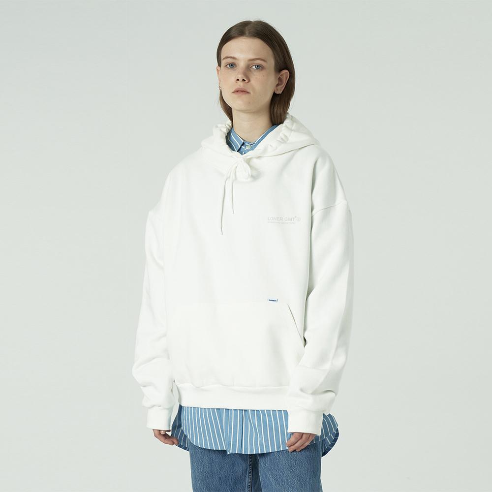 [L]Back under logo hoodie-white