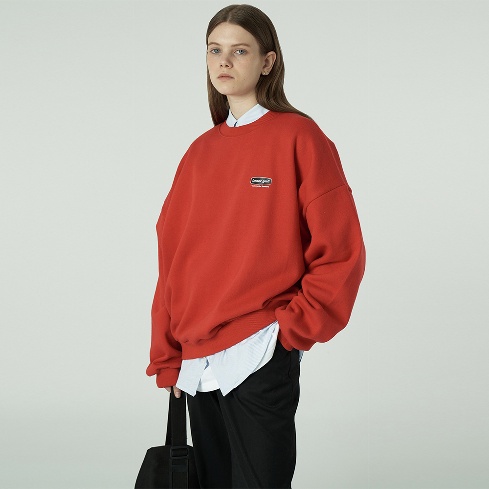 [L]Small curve rectangle logo sweatshirt-red