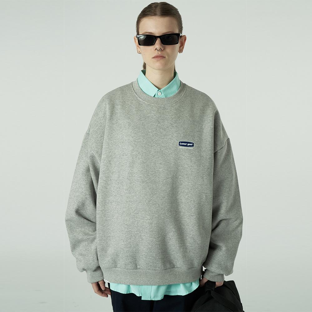 [L]Small curve rectangle logo sweatshirt-grey