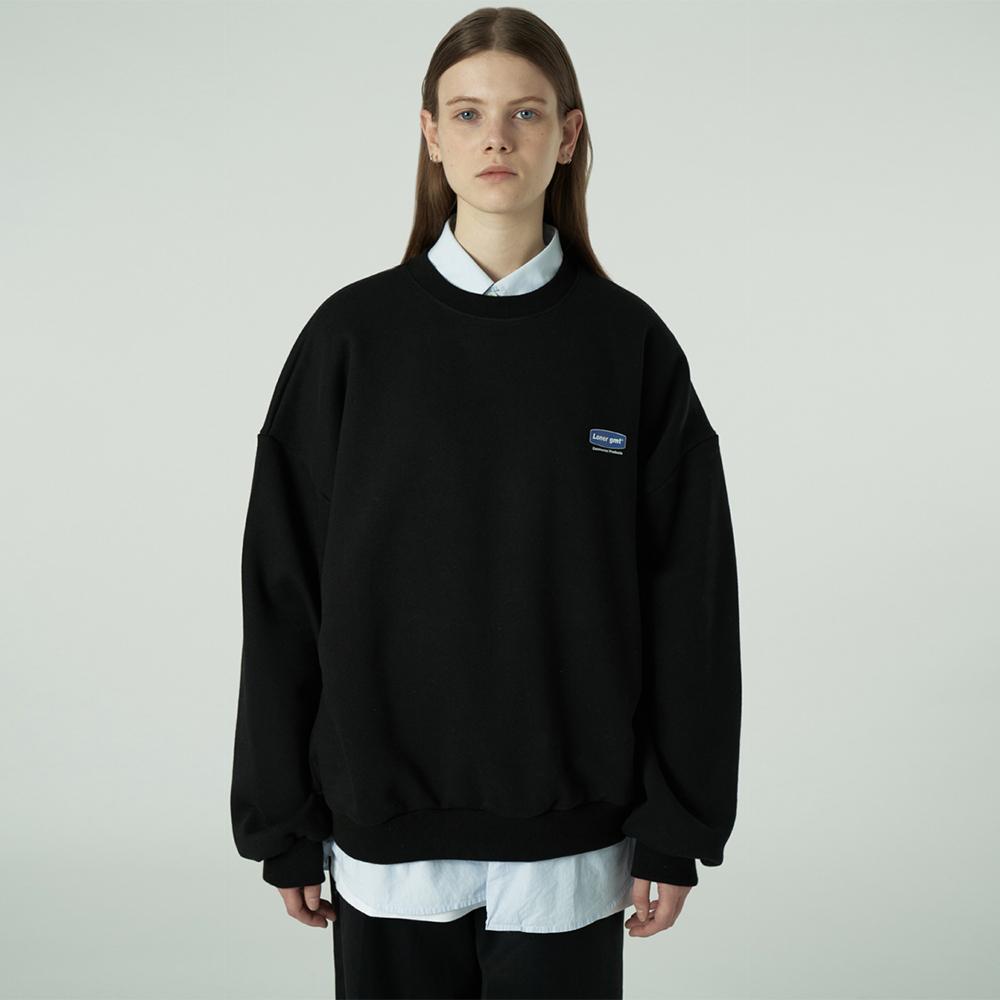 [L]Small curve rectangle logo sweatshirt-black