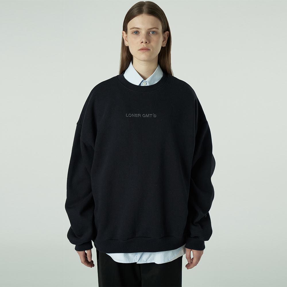 [L]Embroidey gmt logo sweatshirt-dark navy