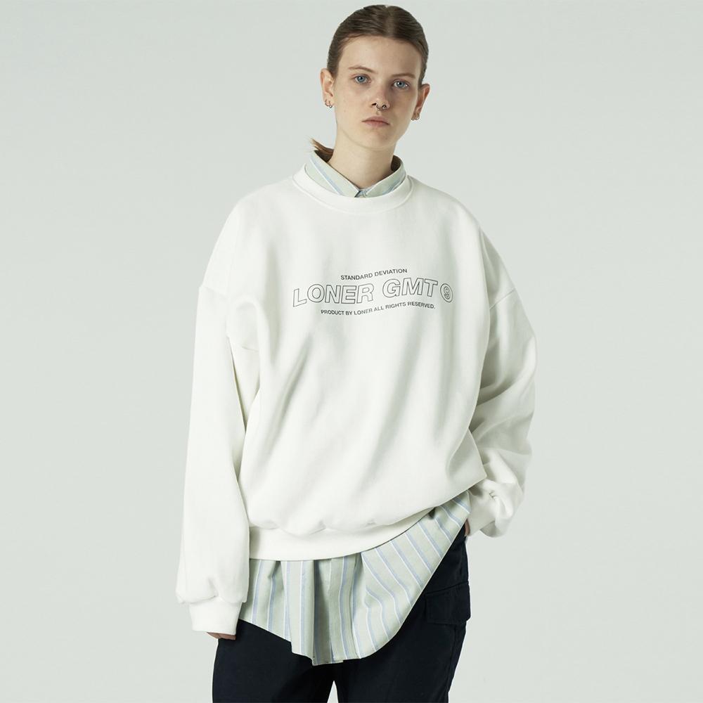 [L]Center gmt line sweatshirt-white