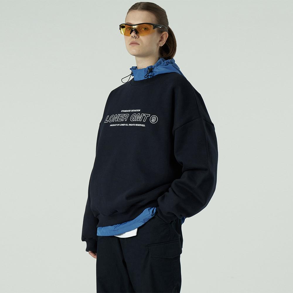[L]Center gmt line sweatshirt-navy