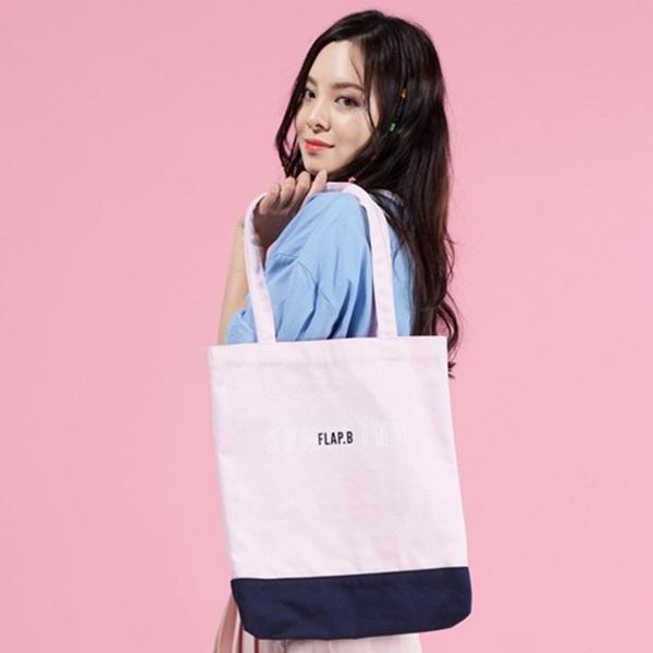 [플랩비]FLAPB - Two Tone Eco Bag (PINK) 가방 에코백 투톤 숄더백 핑크