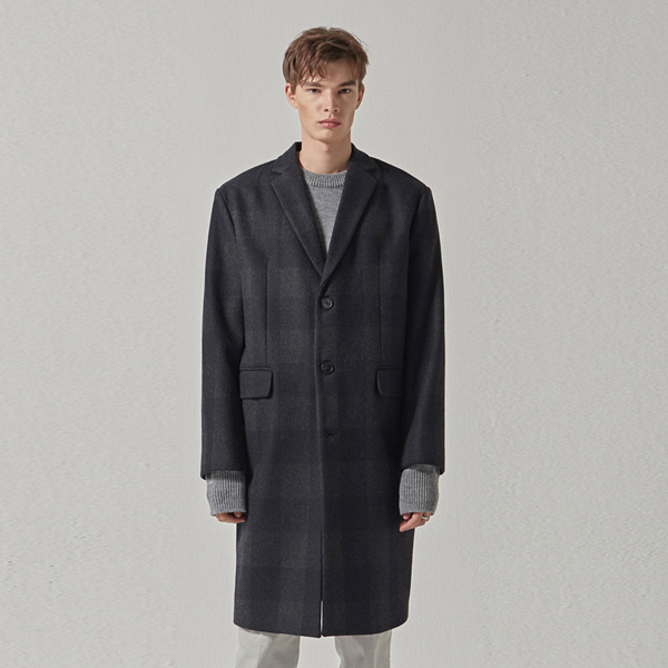 OLIVE CHECK WOOL COAT_NAVY
