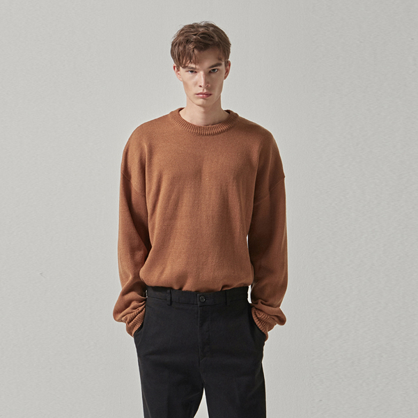 WIDE ROUND OVER KNIT_BROWN