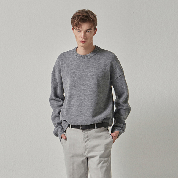 WIDE ROUND OVER KNIT_LIGHT GRAY