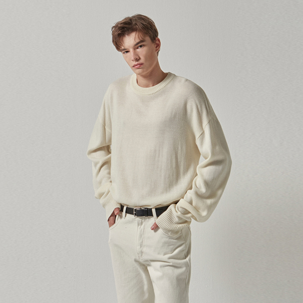 WIDE ROUND OVER KNIT_WHITE