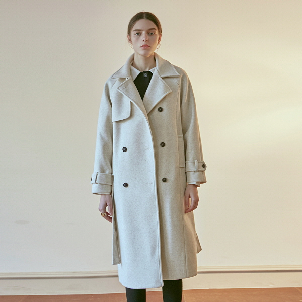 HONEY TRENCH DOUBLE COAT_OATMEAL
