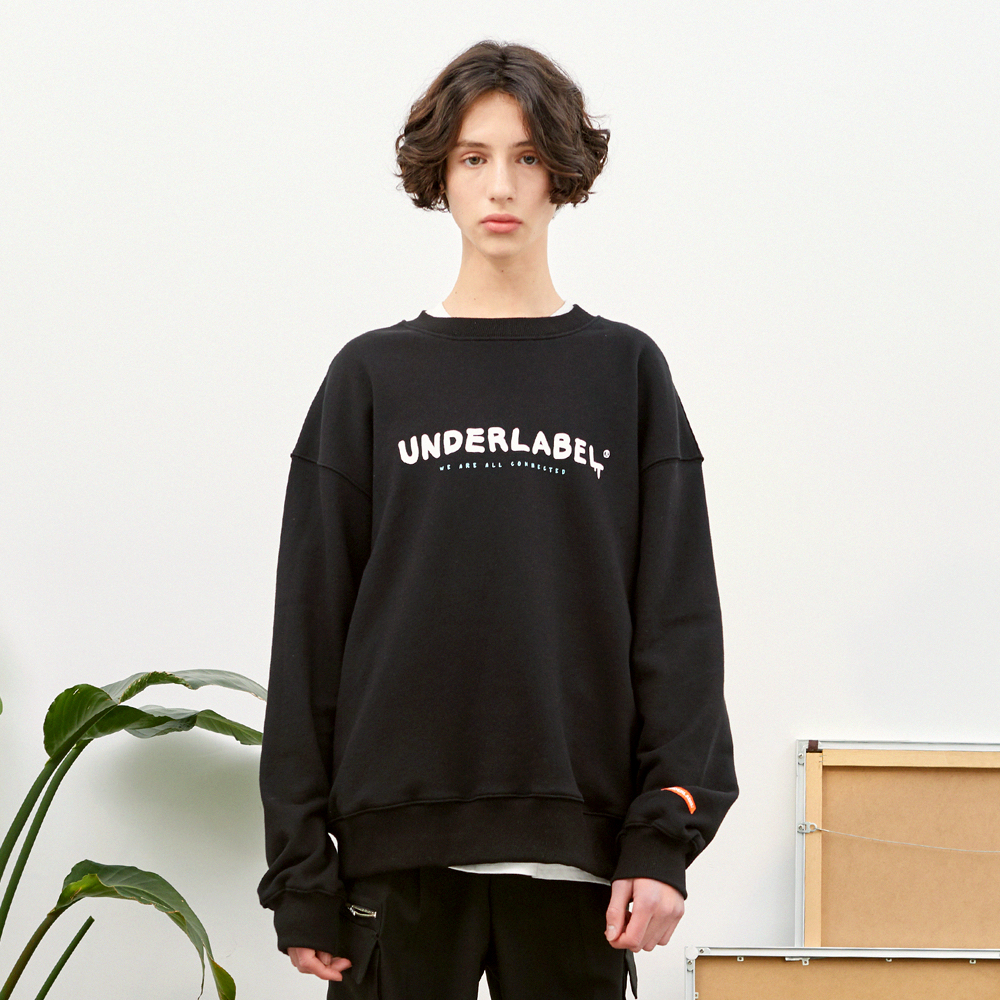 멜팅 로고 스웨트 셔츠 블랙
