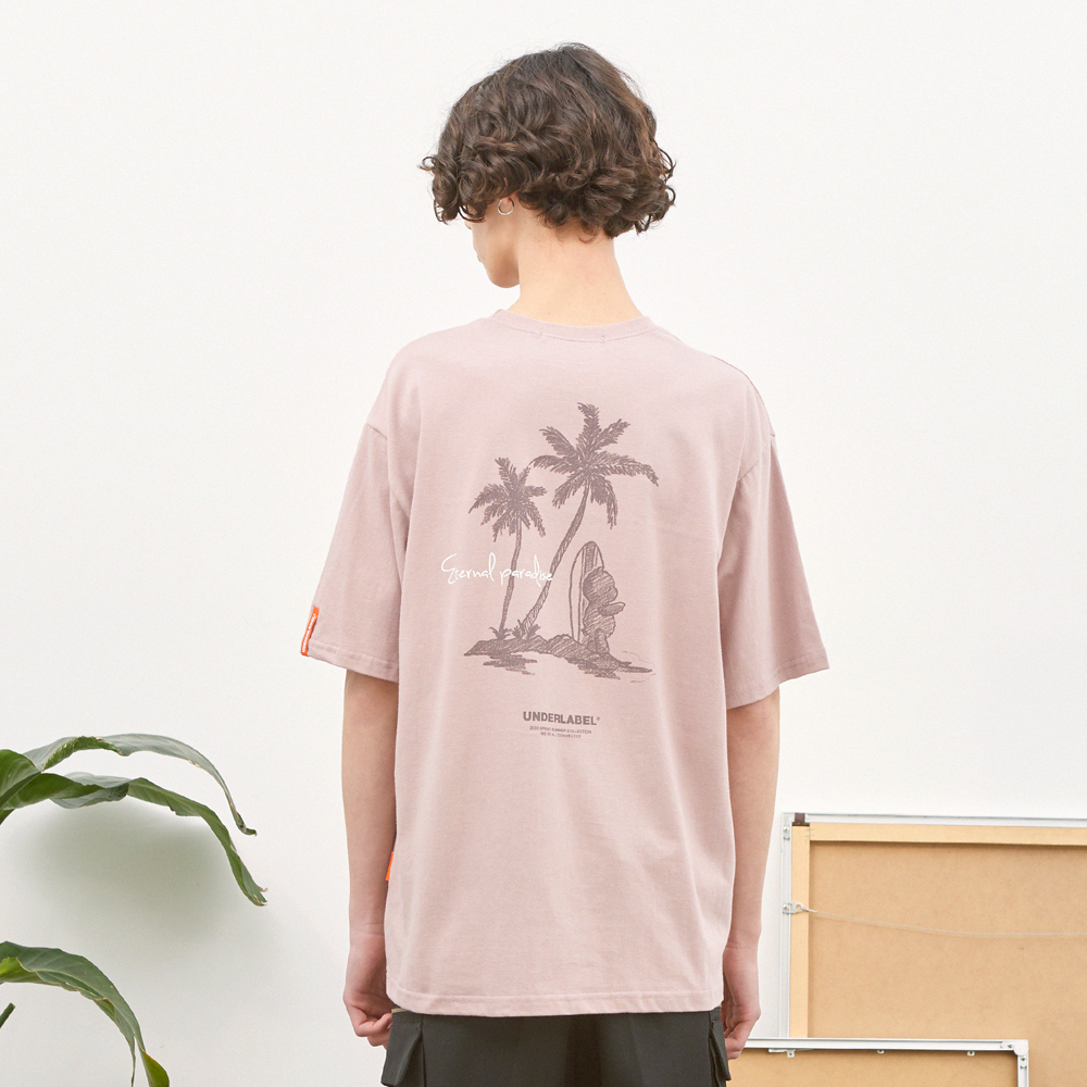 팜 트리 베어 티셔츠 인디핑크