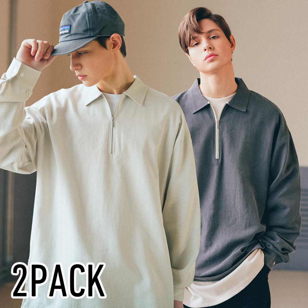 [기획특가][패키지] [다이클레즈] 와이지퍼카라 셔츠 2pack KHLS5091