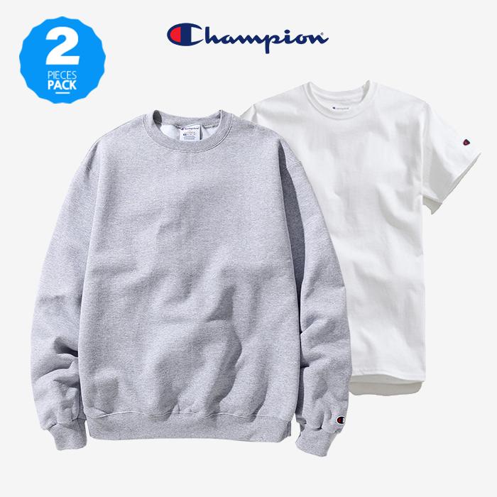 [단독구성][1+1]챔피온 맨투맨+반팔/긴팔 (S600+T425/CC8C)