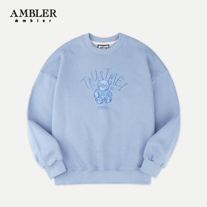 [엠블러]AMBLER 20SS 신상 자수 오버핏 맨투맨 티셔츠 AMM803-블루