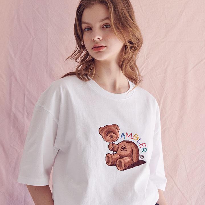 [엠블러]AMBLER 20SS 신상 자수 반팔 티셔츠 AS703-화이트
