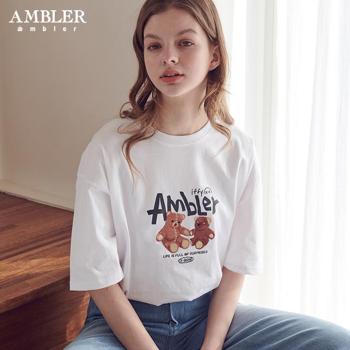 [엠블러]AMBLER 20SS 신상 자수 반팔 티셔츠 AS728-화이트