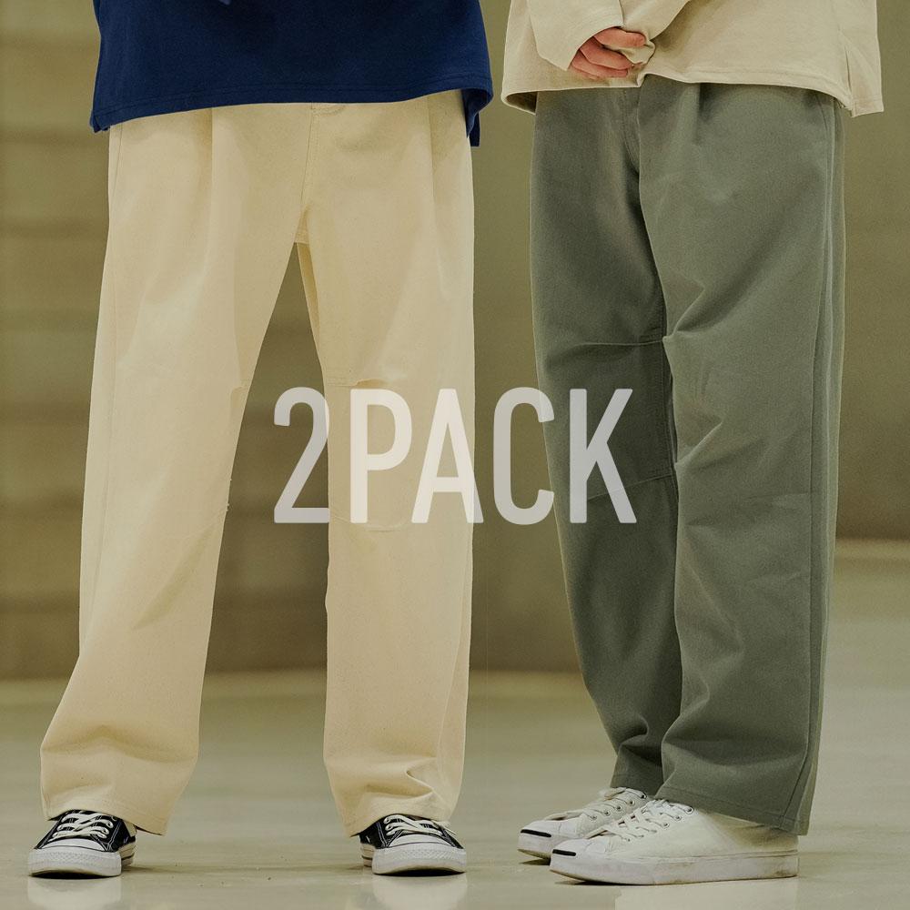 [기획특가][패키지] [에즈카톤] 핀턱와이드 코튼팬츠 2pack YMLP6577
