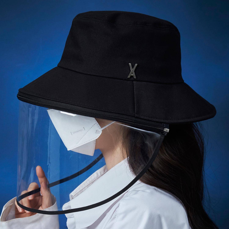 [바잘 코로나 모자] 스터드 로고 COVID 19 보호 방역 버킷햇 블랙
