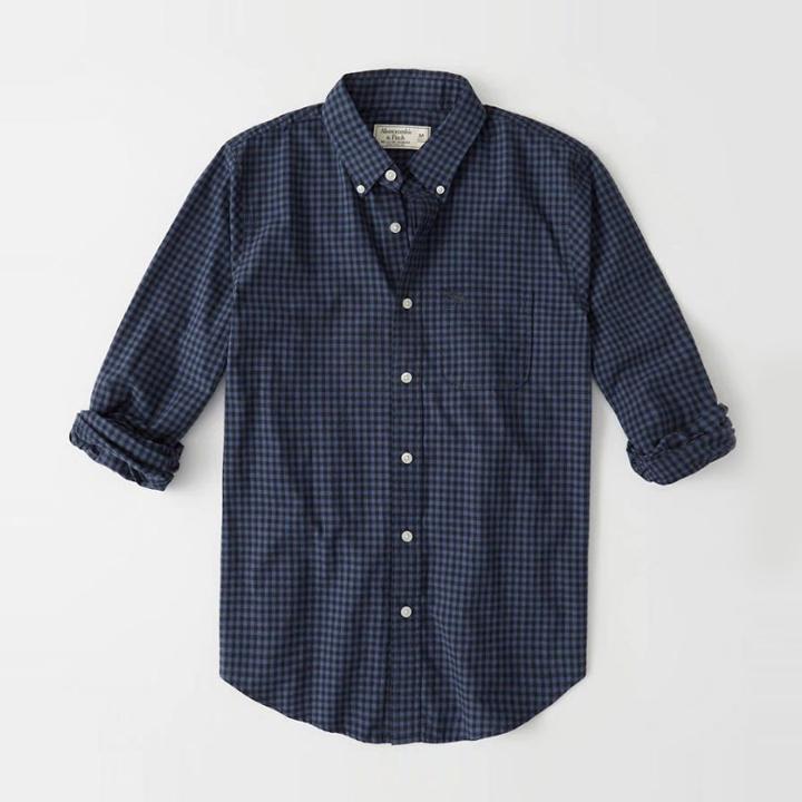 [국내배송]아베크롬비 긴팔 체크 셔츠 남방 0091 020 블루 체크 Abercrombie