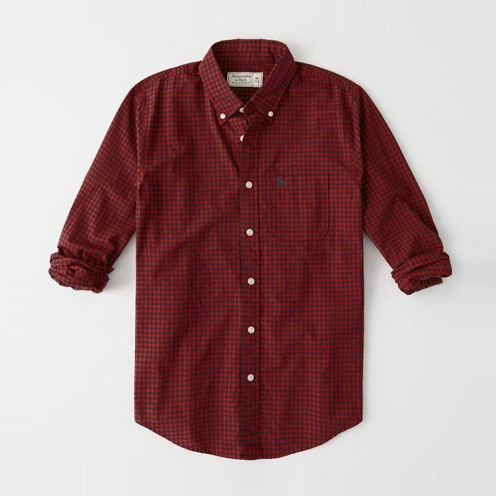[국내배송]아베크롬비 긴팔 체크 셔츠 남방 0091 050 레드 체크 Abercrombie
