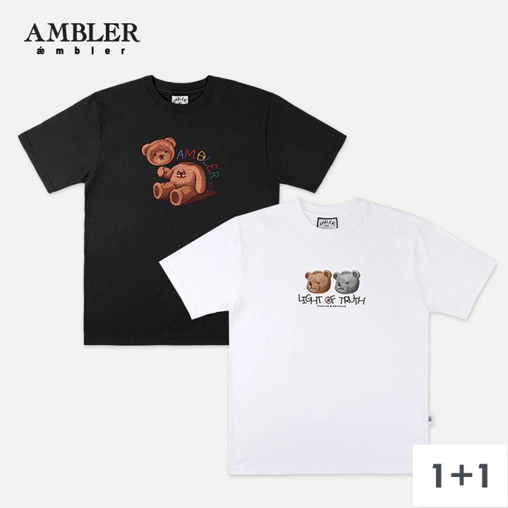 [키썸 착용][단독구성](1+1)엠블러 곰돌이 반팔시리즈 10종