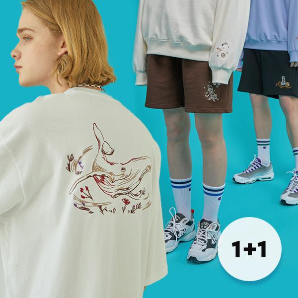 [단독구성][꼼파뇨][1+1]  베스트 반팔 10종 + 반바지 5종