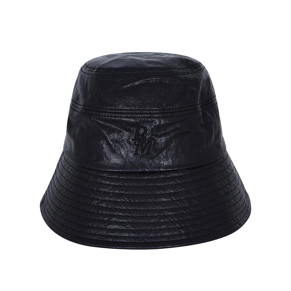 STITCH LEATHER BUCKET HAT (BLACK)