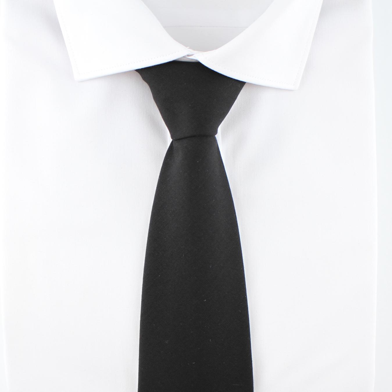솔리드 블랙 넥타이 N456