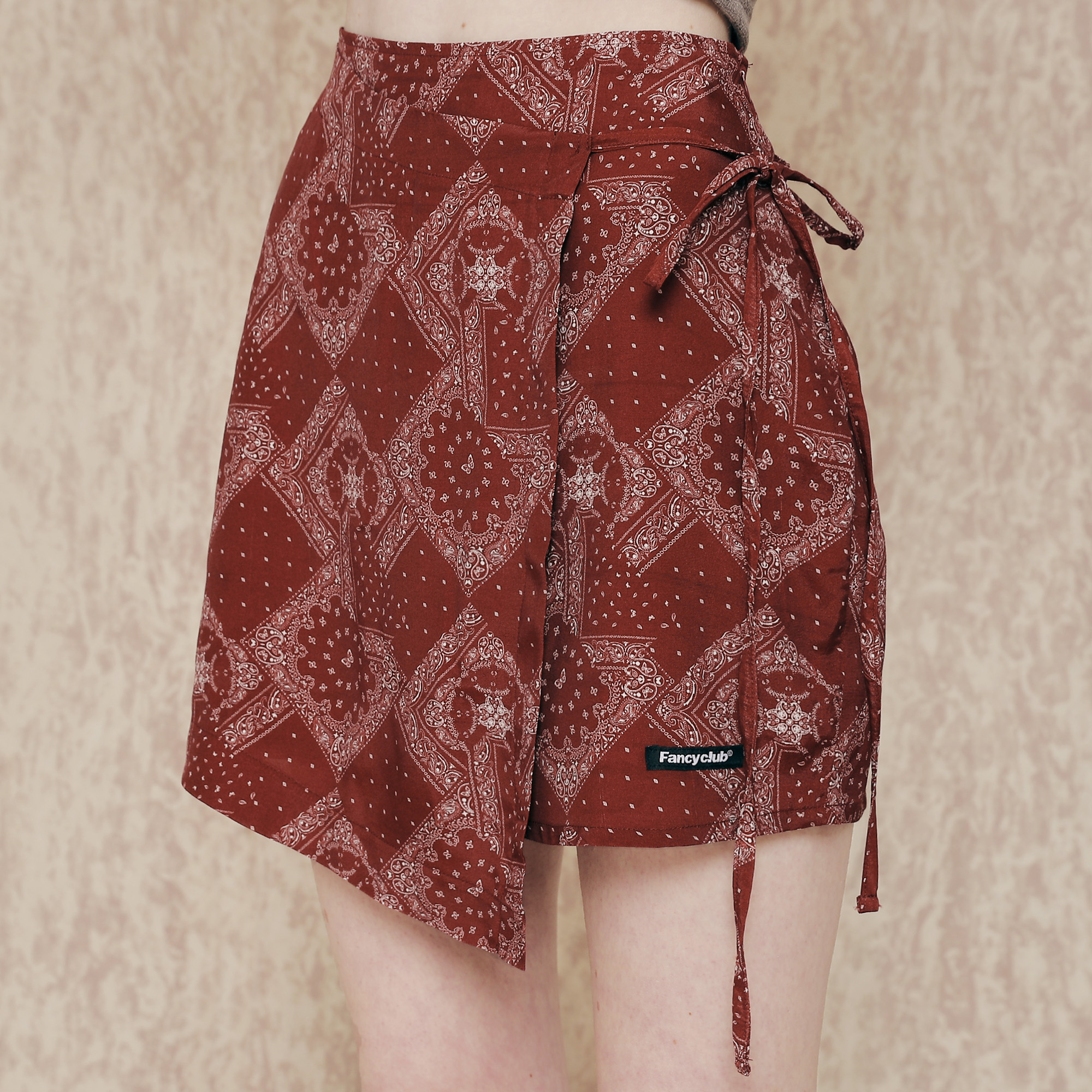 [NF]FANCY PAISLEY BUTTERFLY LAB SKIRT (BURGUNDY)(20SS-F710)