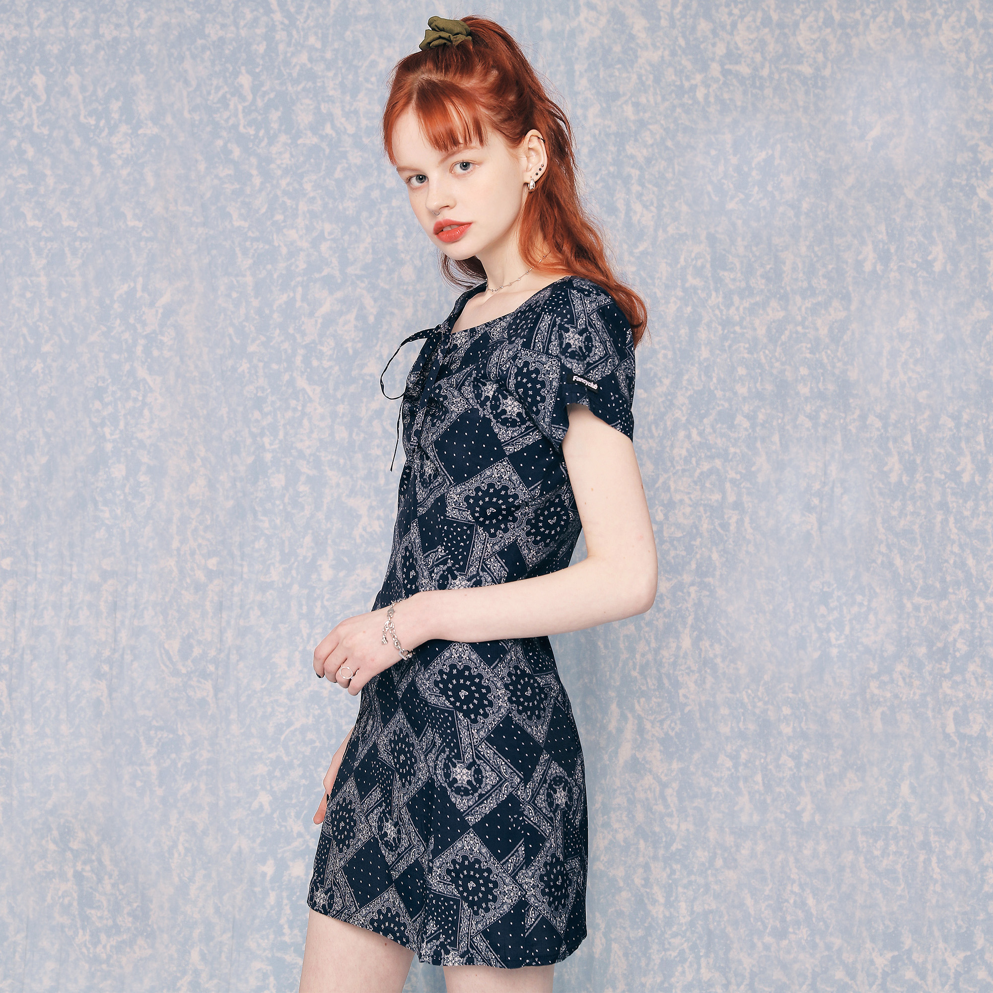 [NF]FANCY PAISLEY BUTTERFLY SHIRRING ONE-PIECE (NAVY)(20SS-F807)