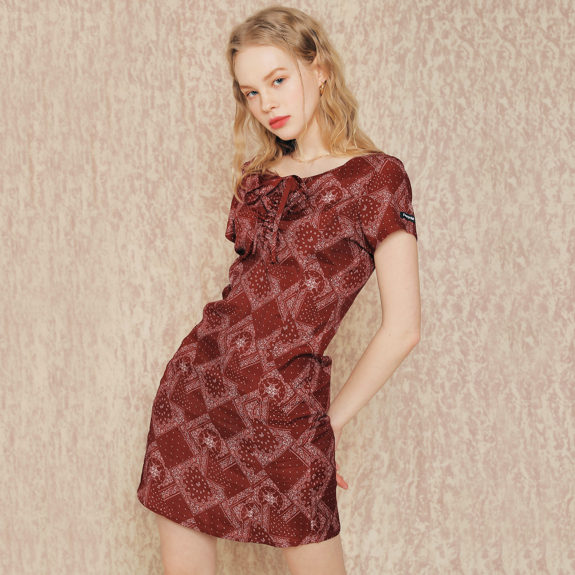 [NF]FANCY PAISLEY BUTTERFLY SHIRRING ONE-PIECE (BURGUNDY)(20SS-F807)