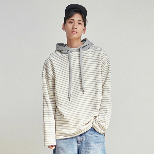 STRIPE HOOD LONG SLEEVE_GRAY