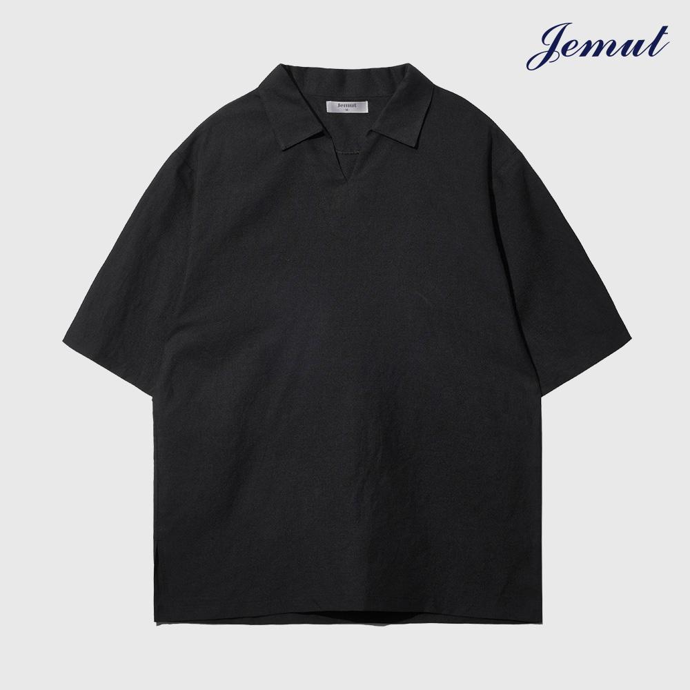 [제멋] 오픈 카라 린넨 티셔츠 블랙 YHST2297